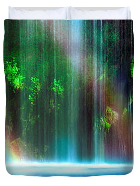 Rainbow Formed In Front Of A Waterfall Duvet Cover by Panoramic Images