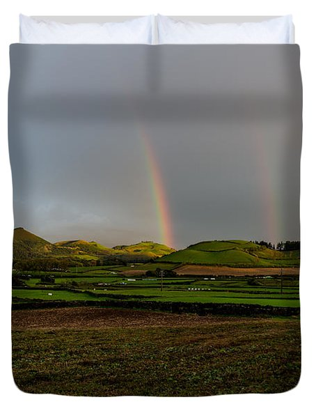 Rainbows Over The Mountain Duvet Cover