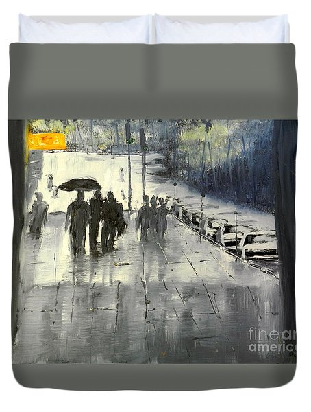 Rainy City Street Duvet Cover