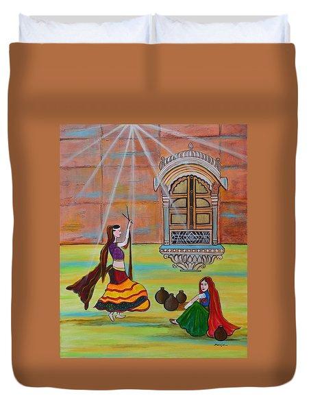 Rajasthani Ladies-dandiya  Duvet Cover by Manjiri Kanvinde