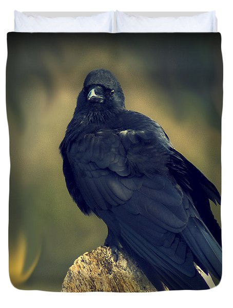 Duvet Cover featuring the photograph Raven by Yulia Kazansky