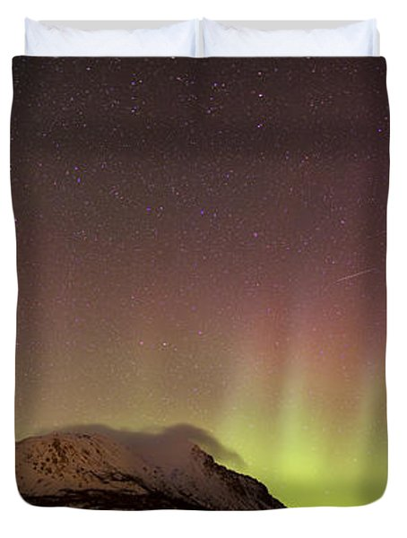 Red Aurora Borealis And Milky Way Duvet Cover by Joseph Bradley