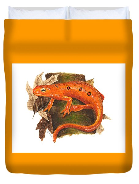 Red Eft Duvet Cover by Cindy Hitchcock