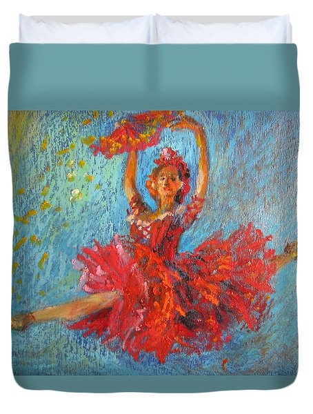 Duvet Cover featuring the painting Red Fan by Jieming Wang