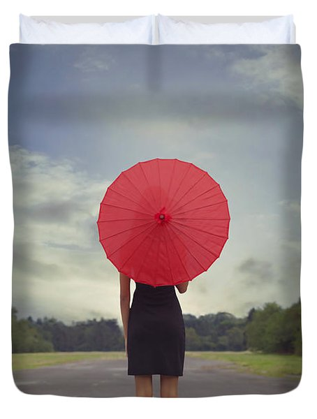 Red Parasol Duvet Cover by Joana Kruse