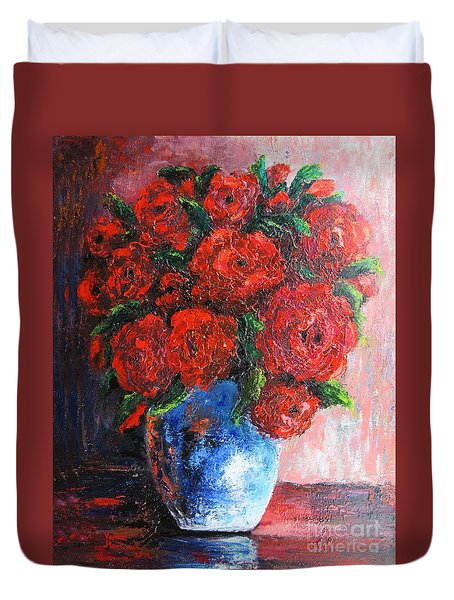 Duvet Cover featuring the painting Red Scent by Vesna Martinjak