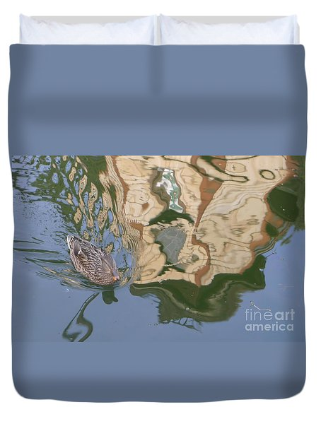 Duvet Cover featuring the photograph Reflection Mill by Nora Boghossian
