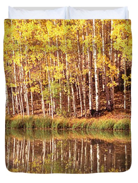 Reflection Of Aspen Trees In A Lake Duvet Cover