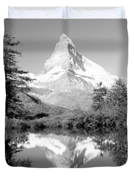 Reflection Of Trees And Mountain Duvet Cover