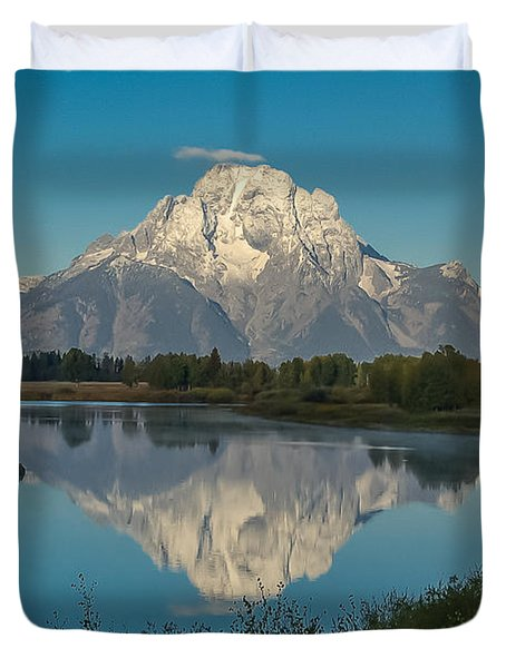 Reflections Of Mount Moran Duvet Cover