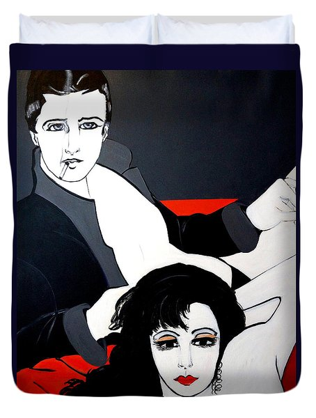 Duvet Cover featuring the painting Relax  Lets Watch A Movie by Nora Shepley