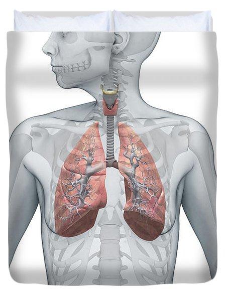 Respiratory System Female Duvet Cover