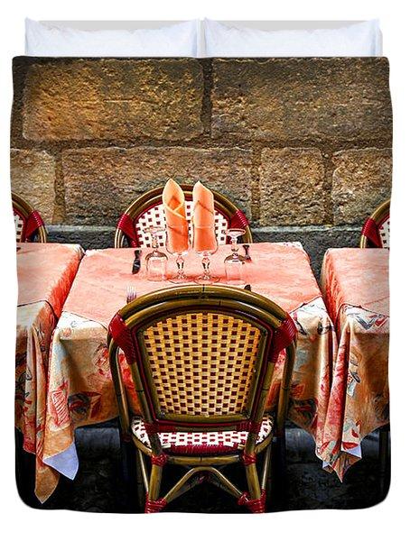 Restaurant Patio In France Duvet Cover