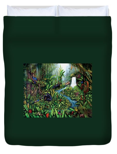 Duvet Cover featuring the painting Resurgence by Lynn Buettner