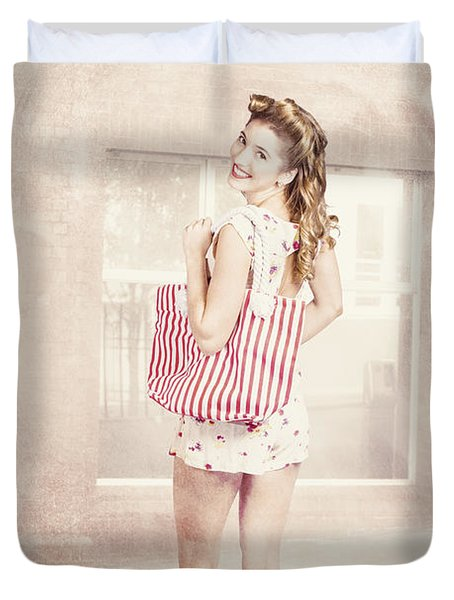 Retro Pin Up Woman Carrying Vintage Shopping Bag Duvet Cover
