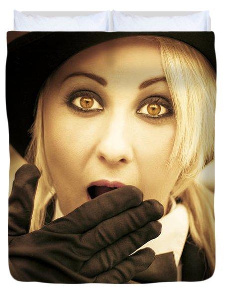 Retro Shock - Woman Looking Shocked Duvet Cover