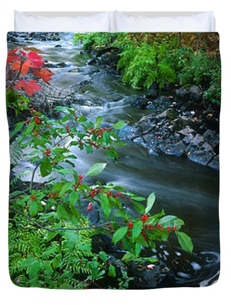 River Flowing Through A Forest, Black Duvet Cover