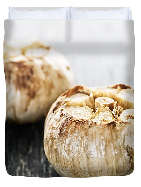 Roasted Garlic Bulbs Duvet Cover by Elena Elisseeva
