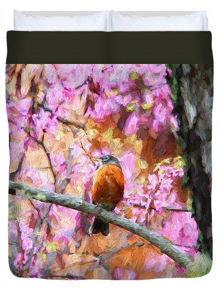 Robin In A Red Bud Tree Duvet Cover by John Freidenberg