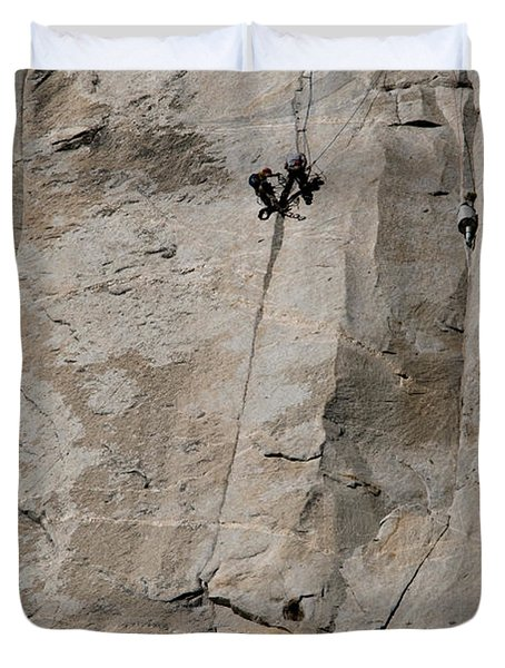 Rock Climber On El Capitan Duvet Cover by Mark Newman
