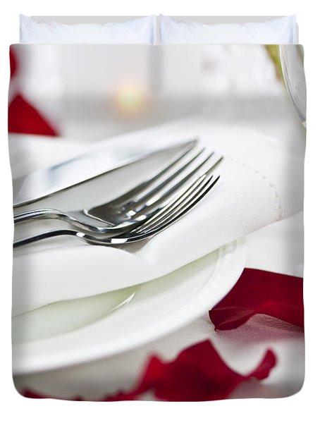 Romantic Dinner Setting With Rose Petals Duvet Cover