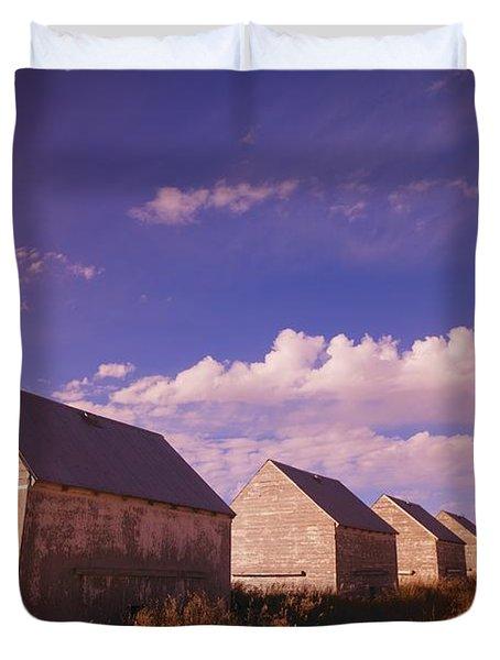 Row Of Old Farm Houses Duvet Cover by Kelly Redinger