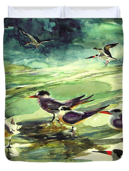 Royal Terns And Black Skimmers Duvet Cover