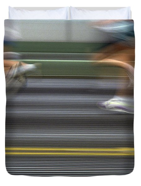 Runners Blurred Duvet Cover by Jim Corwin