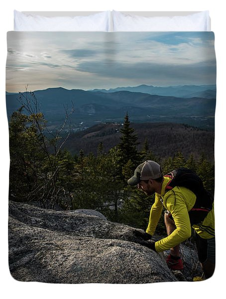 Runners On Black Cap In New Hampshire Duvet Cover