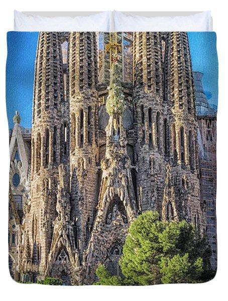 Sagrada Familia Nativity Facade Duvet Cover