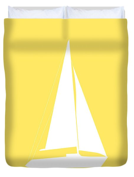 Sailboat In Yellow And White Duvet Cover