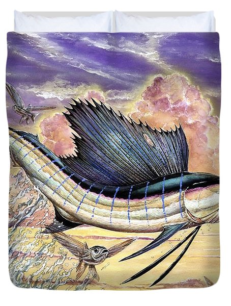 Sailfish And Flying Fish In The Sunset Duvet Cover