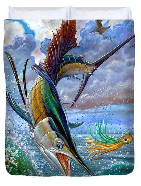 Sailfish And Lure Duvet Cover