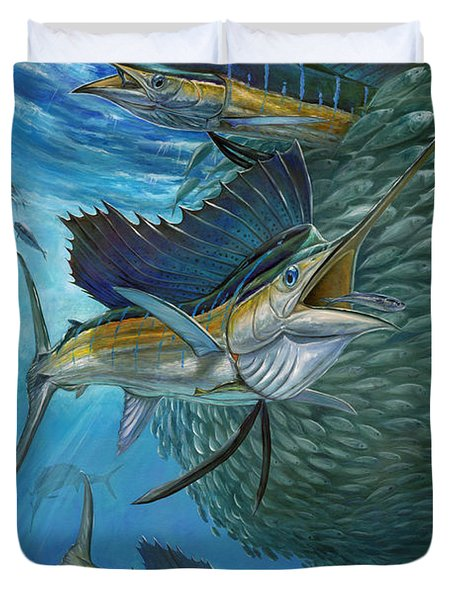 Sailfish With A Ball Of Bait Duvet Cover