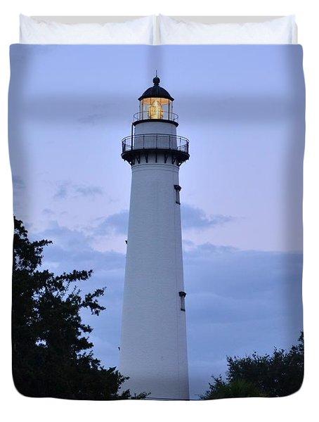 Duvet Cover featuring the photograph Saint Simons Lighthouse by Bob Sample