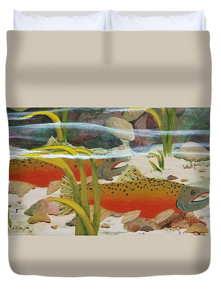 Salmon Duvet Cover by Katherine Young-Beck