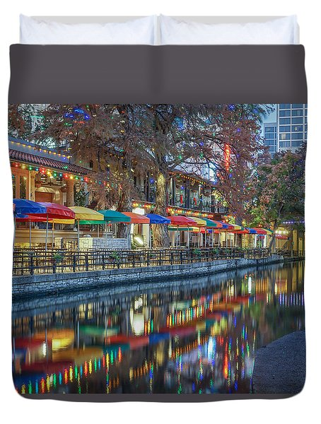 San Antonio Riverwalk Duvet Cover
