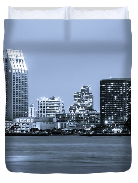 San Diego At Night Duvet Cover by Paul Velgos