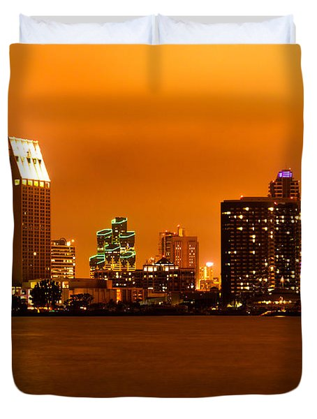 San Diego Skyline At Night Duvet Cover by Paul Velgos