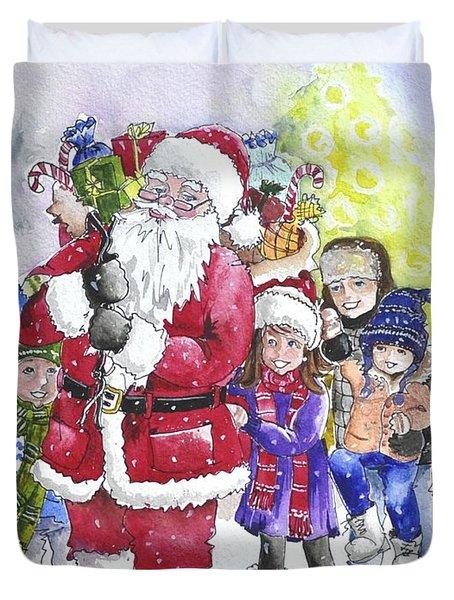 Santa And Children Duvet Cover