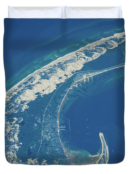 Satellite View Of Cape Cod National Duvet Cover