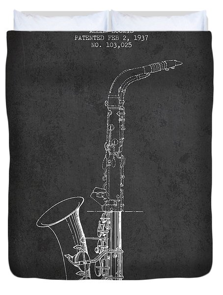 Saxophone Patent Drawing From 1937 - Dark Duvet Cover by Aged Pixel