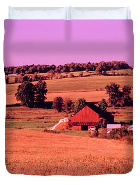 Scenic View Of A Farm, Amish Country Duvet Cover