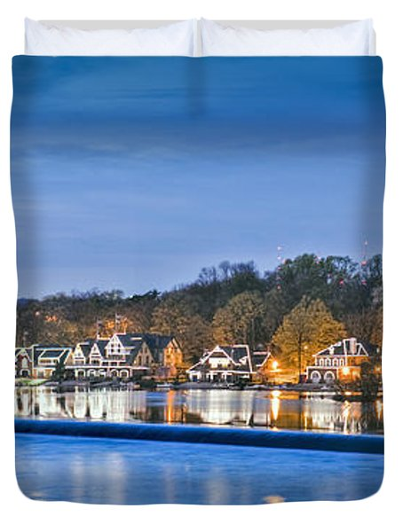 Schuylkill River  Boathouse Row Lit At Night  Duvet Cover by David Zanzinger