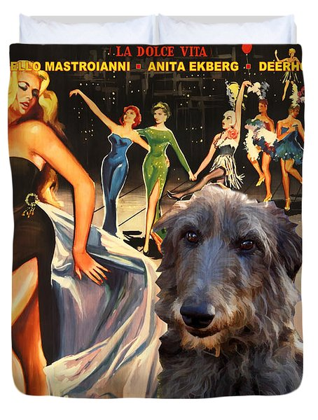 Scottish Deerhound Art - La Dolce Vita Movie Poster Duvet Cover by Sandra Sij