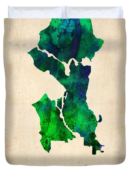 Seattle Watercolor Map Duvet Cover by Naxart Studio