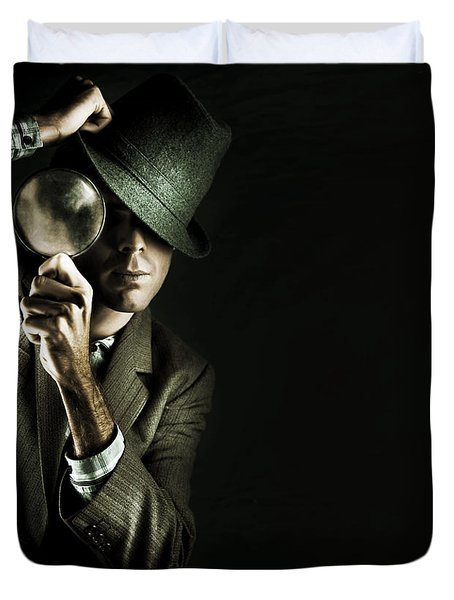 Security Detective With Magnifying Glass Duvet Cover