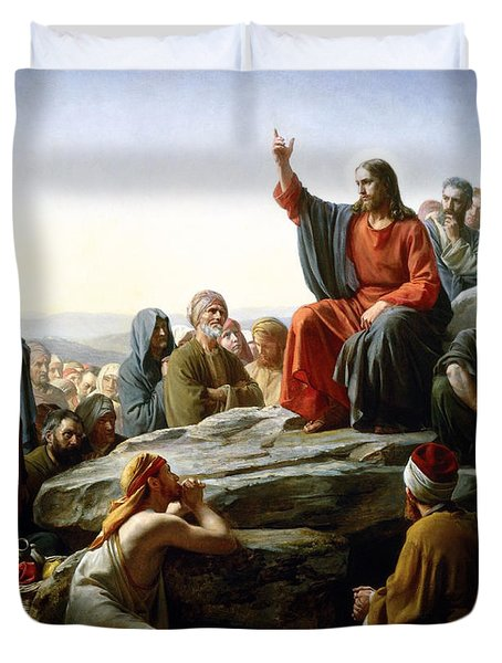 Sermon On The Mount Duvet Cover by Carl Bloch