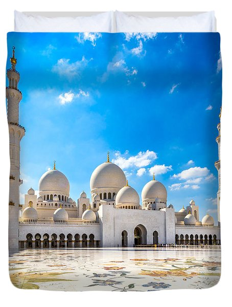 Sheikh Zayed Mosque - Abu Dhabi - Uae Duvet Cover by Luciano Mortula