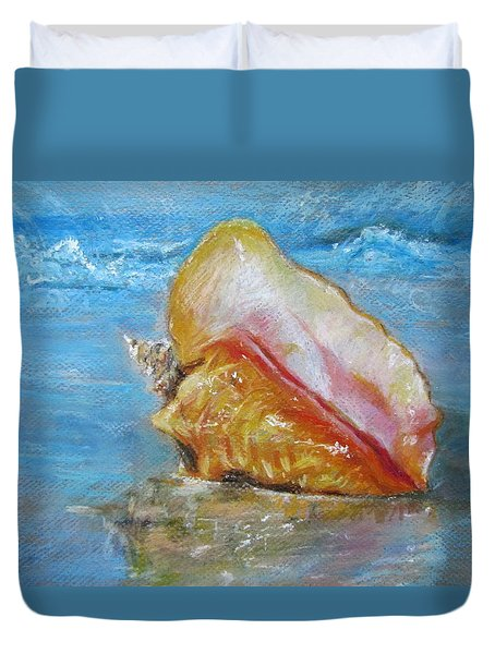 Duvet Cover featuring the painting Shell Beach by Jieming Wang